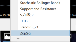 ZigZagをチャート画面上に設定しよう!
